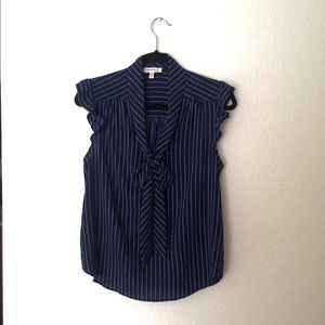 Monteau Navy Blue and White Stripe Blouse